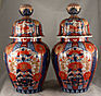 Pair Large Japanese Meiji Imari Porcelain Lidded Jars