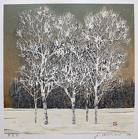Japanese Woodblock Print J. Hoshi Clump Trees Winter