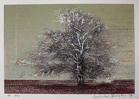 Ltd. Edition Japanese Woodblock Print Joichi Hoshi Tree