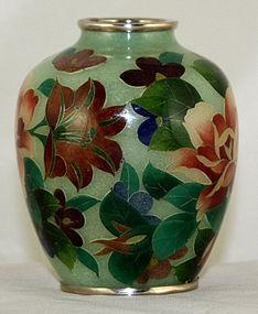 Japanese Showa Plique-a-Jour Cloisonne Enamel Vase