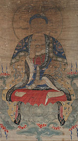Taiwanese Chinese Qing Scroll Painting Medicine Buddha