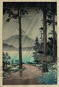 Japanese Woodblock Print Koitsu Morning Rain at Hakone