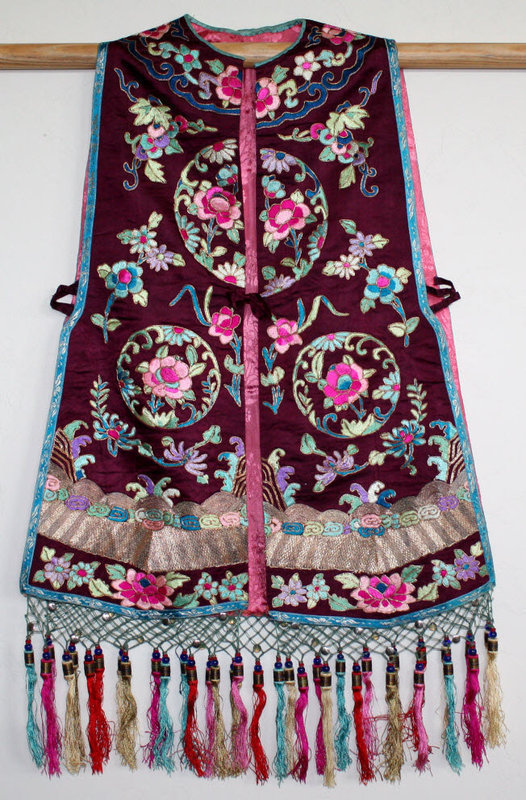 Chinese Qing to Republic Silk Embroidered Xiapei Vest Waistcoat
