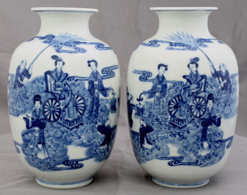 Chinese Republic Blue White Porcelain Vases Xiwangmu Qianlong Mark