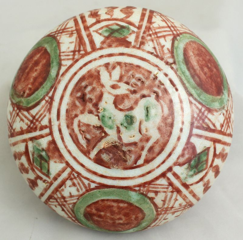 Chinese Ming Zhangzhou Swatow Porcelain Scholar's Seal Paste Box Deer