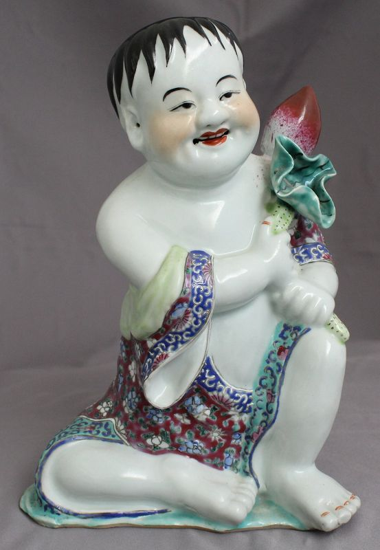 Chinese Republic Period Famille Rose Porcelain Seated Boy Child