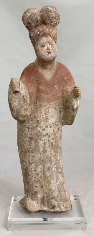 Chinese Tang Dynasty Fat Lady Pottery Standing Tomb Figure Attendant