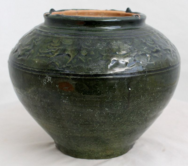 Large Chinese Han Lead Green Glaze Pottery Burial Jar Animal Forms