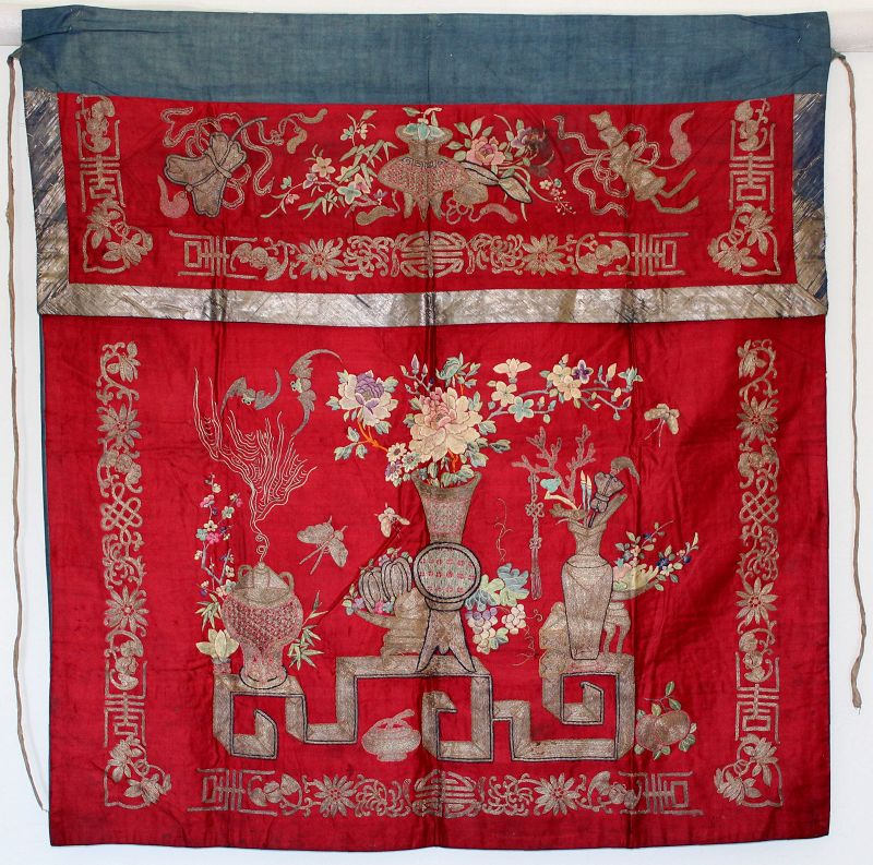 Chinese Qing Silk Embroidered Textile Hanging Altar Frontal Panel