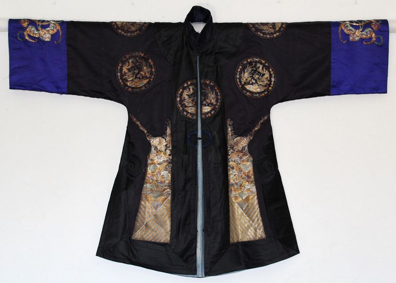 Chinese Qing Woman's Lady's Han Style Silk Embroidered Robe Bat Peach