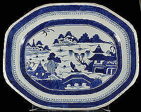 "17.5"" Chinese Ca. 1820 Canton Export Blue White Platter"